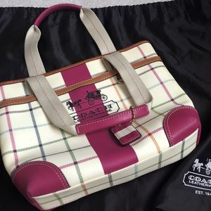 Coach Leather Cream, Pink , and Plaid Tote Bag